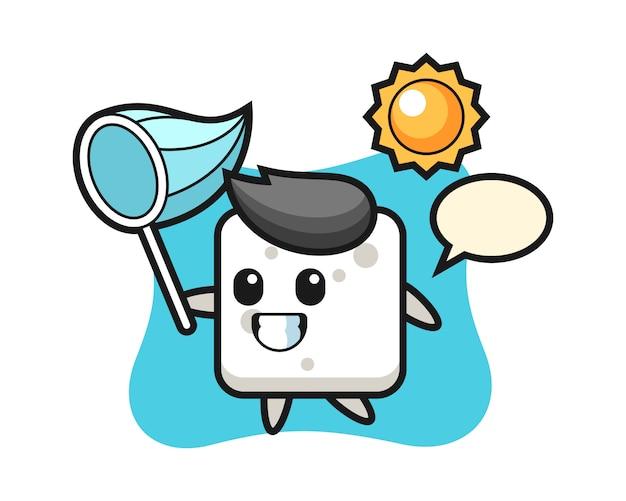 L'illustrazione della mascotte del cubo dello zucchero sta catturando la farfalla, stile sveglio per la maglietta, adesivo, elemento di logo