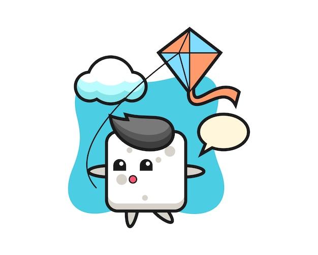 L'illustrazione della mascotte del cubo dello zucchero sta giocando l'aquilone, stile sveglio per la maglietta, l'adesivo, elemento di logo
