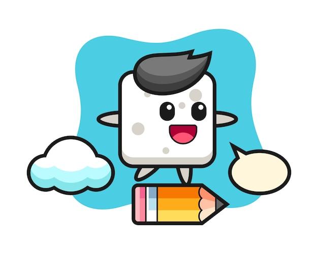 Illustrazione della mascotte del cubo dello zucchero che guida su una matita gigante, stile sveglio per la maglietta, adesivo, elemento di logo