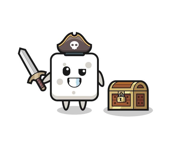 Il personaggio pirata della zolletta di zucchero che tiene la spada accanto a una scatola del tesoro, design in stile carino per maglietta, adesivo, elemento logo