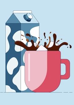 Zollette di zucchero cadono nella tazza spruzzando caffè caldo davanti al cartone del latte