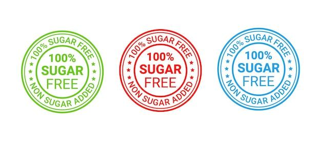 Timbro di gomma senza zucchero. icona senza aggiunta di zucchero. illustrazione vettoriale.