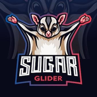 Mascotte dell'aliante dello zucchero. logo esport