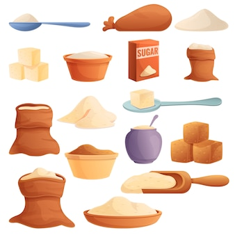 Set di icone di zucchero, stile cartoon
