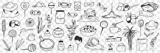Insieme di doodle di zucchero e ingredienti per caramelle. raccolta di piante di farina di zucchero dolce commestibile disegnate a mano per preparare caramelle o dolci dolci da cucina isolati su sfondo trasparente