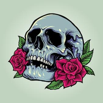 Anatomia del cranio dello zucchero con illustrazioni di rose