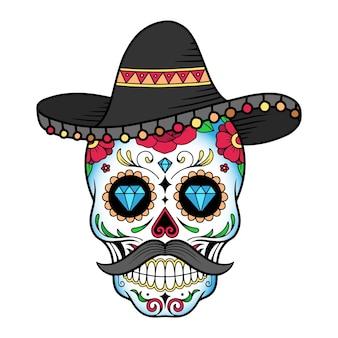 Maschera del giorno del giorno del teschio di zucchero con illustrazione del cappello