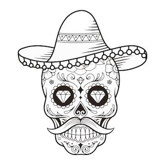 Maschera del giorno del giorno del teschio di zucchero con illustrazione vettoriale del cappello
