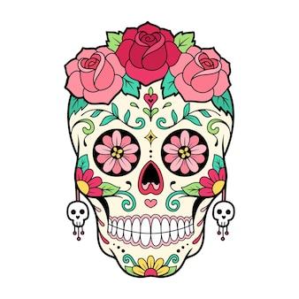 Maschera del giorno del giorno del teschio di zucchero con illustrazione di fiori di rosa