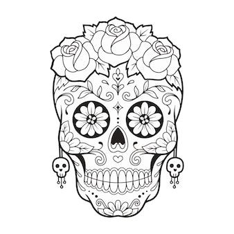Maschera del giorno del giorno del teschio di zucchero con illustrazione vettoriale di fiori di rosa