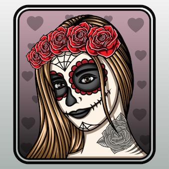 Illustrazione della signora del cranio dello zucchero.