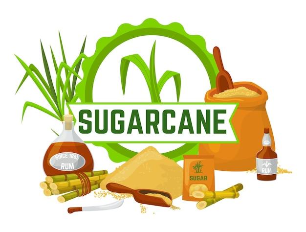 Illustrazione di canna da zucchero con scritte e cibo dolce