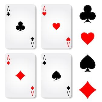 Carte da gioco vestito isolato su priorità bassa bianca. illustrazione