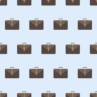 Modello senza cuciture di affari della valigia. valigia per documenti e laptop. sfondo per affari. stile piatto. vettore.