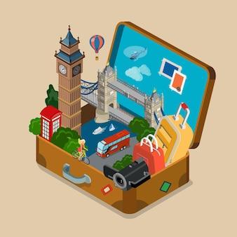 Valigia piena di attrazioni turistiche punti di riferimento vetrina piatto isometrico vacanza viaggi turismo concetto sito