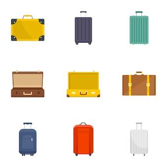 Set di icone di valigia. set piatto di 9 icone vettoriali valigia