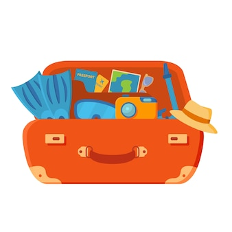 La valigia è aperta. pinne, macchina fotografica, occhiali, passaporto, biglietti aerei, palme e stelle marine. vacanze estive.