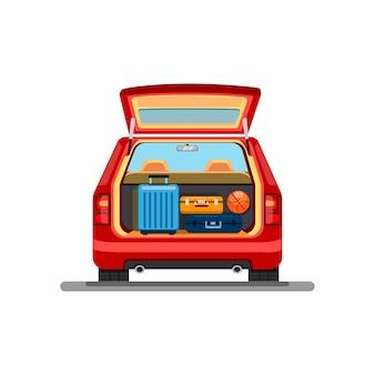 Bagagli della valigia sul bagagliaio dell'auto. simbolo dell'automobile di corsa di vacanza di vacanza nell'illustrazione del fumetto su fondo bianco