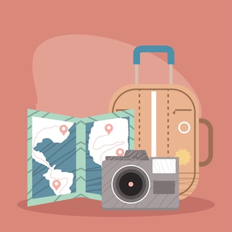 Valigia e icone del turismo