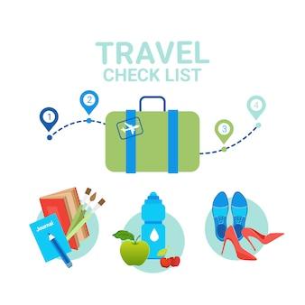 Valigia con elementi di vestiti. concetto della lista di controllo dell'imballaggio di viaggio