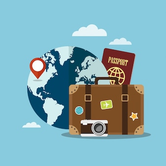 Valigia, mappamondo e passaporto