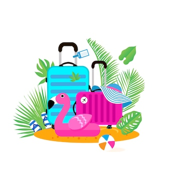 Valigie sulla spiaggia borsa da viaggio con cappello sulla spiaggia assolata gonfiabile gigante fenicottero rosa palla flipflop e foglie di palma vacanze estive giornate di sole vacanze tempo di viaggio fine settimana piatto