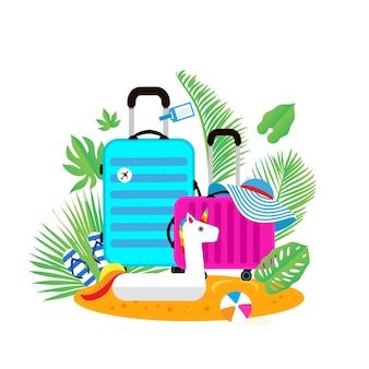 Valigie sulla spiaggia borsa da viaggio con cappello sulla spiaggia assolata gonfiabile gigante unicorno bianco palla infradito e foglie di palma vacanze estive giorni di sole vacanze tempo di viaggio fine settimana piatto