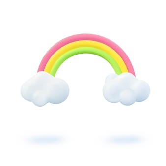 Progettazione della bandiera di estate 3d. rendering realistico scena arcobaleno colorato, nuvola. oggetti estivi, poster web per le vacanze, volantino per bambini, brochure stagionale, copertina. sfondo moderno vivaio