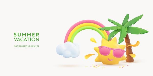 Progettazione della bandiera di estate 3d. rendering realistico scena palma tropicale, sole, arcobaleno, nuvola. oggetti da spiaggia tropicale, poster web per le vacanze, volantino, brochure stagionale, copertina. sfondo moderno estivo