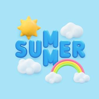 Progettazione della bandiera di estate 3d. rendering realistico scena cielo tropicale, sole, arcobaleno, nuvola. oggetti estivi tropicali, poster web per le vacanze, volantino moderno, brochure stagionale, copertina, sfondo