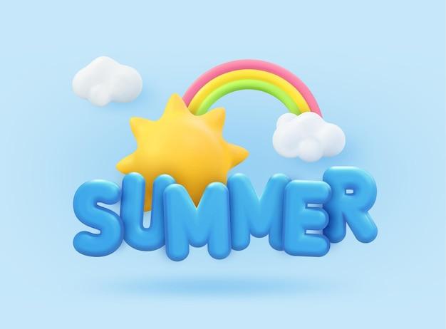 Progettazione della bandiera di estate 3d. rendering realistico scena sole tropicale, arcobaleno, nuvola. oggetti estivi tropicali, poster web per le vacanze, volantino moderno, brochure stagionale, copertina, sfondo