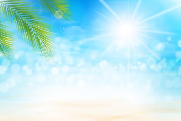 Bokeh astratto del fondo di estate e spiaggia di sabbia effetto ligting