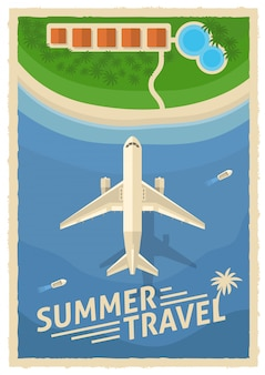 Poster retrò di viaggio aereo estivo