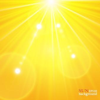 Sfondo estivo con un magnifico sole estivo scoppiato di riflesso lente spazio per il tuo testo.
