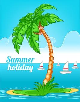 Sfondo estate con la palma
