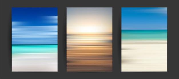 Set di sfondi estivi gradienti creativi nei colori estivi spiaggia e tramonti dell'orizzonte dell'oceano