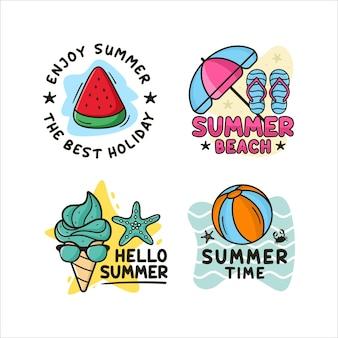 Collezione logo design distintivo estivo