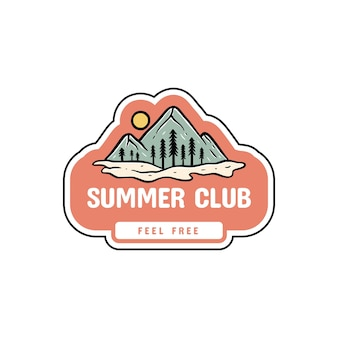 Insieme del logo del distintivo estivo e vettore premium del distintivo delle vacanze