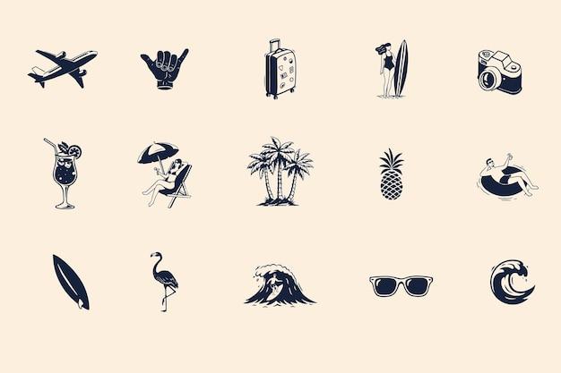 Set di badge estivi modelli per biglietti di auguri, poster, stampe e altri design