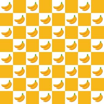 Doodle a scacchi banana estate disegno modello senza soluzione di continuità