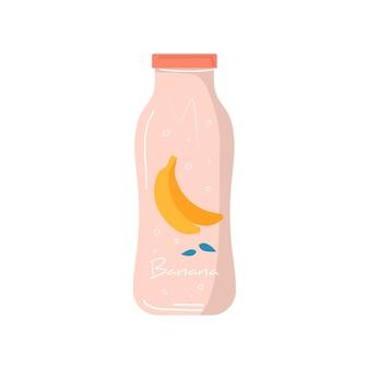 Succo di banana estivo nell'icona della bottiglia con frutta e bacche. frutta vegana e cocktail detox salutari. miscele vegetariane, bibite e frullati vitaminici rinfrescanti per succhi di frutta. vettore alla moda