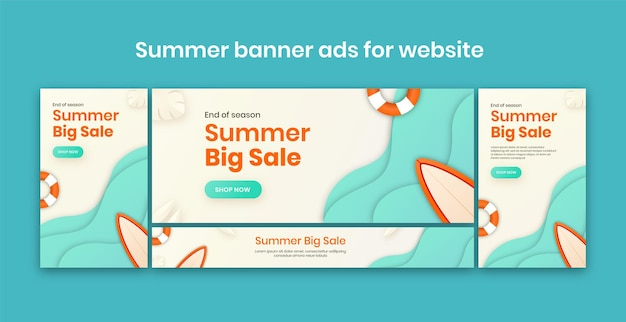 Banner pubblicitari estivi per il sito web