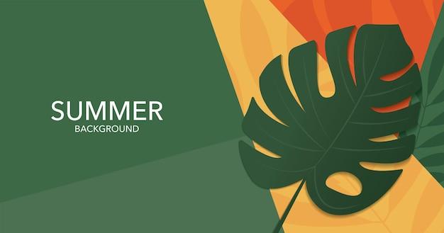 Il monstera di progettazione dell'insegna di estate lascia il fondo giallo arancio e verde della parete