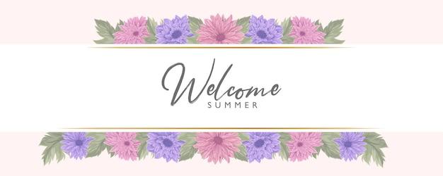 Banner estivo con bellissimo fiore di crisantemo