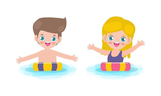 Modello di banner estivo di simpatici bambini caucasici in piscina e anello di gomma in piscina
