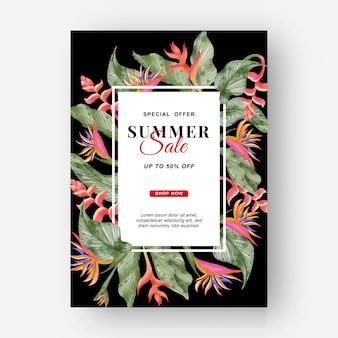 Banner estivo sfondo tropicale con fiori di strelitzia e foglie tropicali