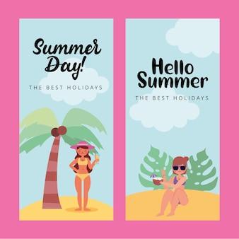 Banner estivi con ragazze nei cartoni animati della spiaggia beach