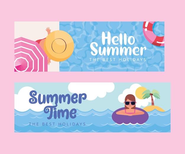 Banner estivi con donne nel cartone animato da spiaggia beach