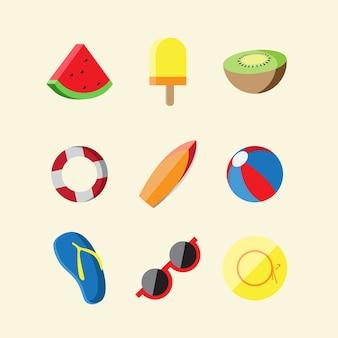 Set di icone di base estate