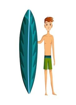 Attività estive in spiaggia. ragazzo in piedi con la tavola da surf. vacanza al mare. stile cartone animato